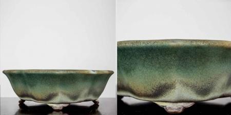 Ręcznie wykonana donica ceramiczna do bonsai, szkliwiona